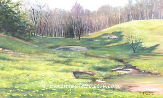 Landscape painting 8x10 print from ORIGINAL oil painting art shabby chic home decor earthspalette