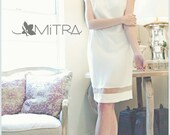 Cream & Off White Light Wool Shift Dress