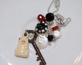 Vintage Celluloid Monkey Charm & Key Necklace