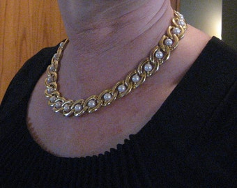 Vintage gold and pearl choker.  Costume jewelry.