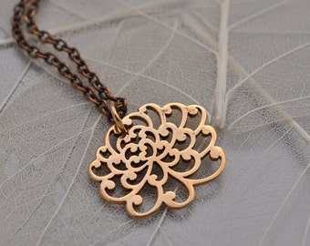 chrysanthemum flower necklace, petite chrysanthemum flower bronze necklace, lovely flower necklace