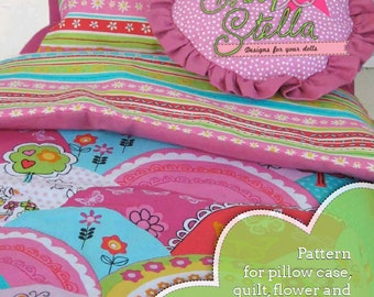 Bedding pattern and instructions for making a pillow case, quilt and two types of throw pillows for 18 inch dolls like American Girl.