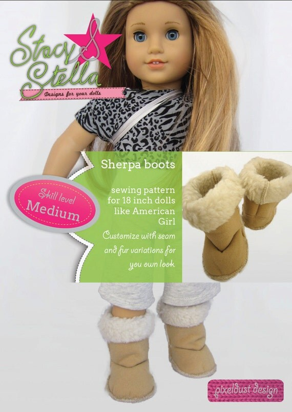 Sherpa boots PDF sewing pattern for 18 inch dolls like American Girl - INSTANT DOWNLOAD.