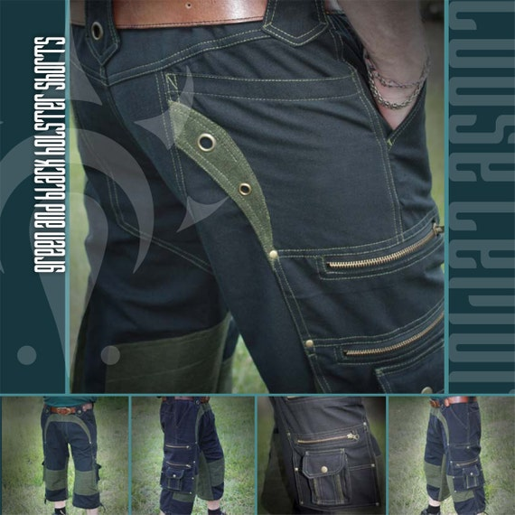 Black with Green Highlight Holster Shorts 100% Cotton Twill
