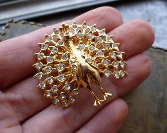 Vintage Rhinestone Peacock Brooch - Peacock Pin - Asian Style Brooch - Bird Jewelry - Rhinestone Brooch - Crystal Brooch - Avian Jewelry