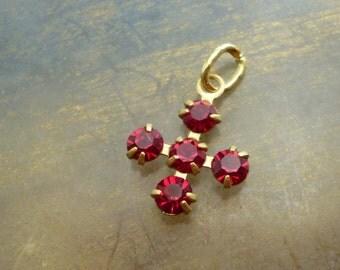 Vintage Cross Charm - Ruby Swarovski Crystal Cross Pendant