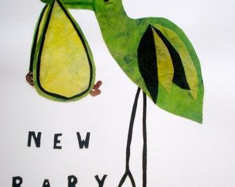 Batik Fabric Collage Art New Baby Custom Made Baby Shower Gift