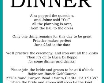 Custom Printable Wedding Rehearsal Dinner Poem Invitation Digital File