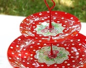 2 tier - glass - cake stand - decoupaged - romantic - polka dots - roses - red - handmade - in decorative box