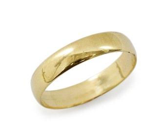 Men classic 4mm width wedding ring. Classic wedding ring. Gold wedding ring. - 14k yellow gold  unisex wedding ring. (gr-9294-1447)