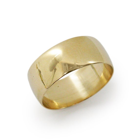 Classic 7.5 mm width rounded wedding band- 14k yellow gold  wide wedding ring, gold wedding ring, (gr-9297-1445).