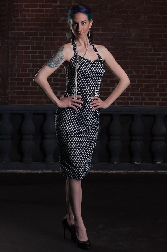 Polka Dot Halter Wiggle Dress Pinup Rockabilly Vintage Reproduction