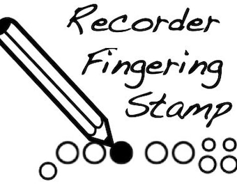 Recorder Fingering Rubber Stamp - Fun for kids!