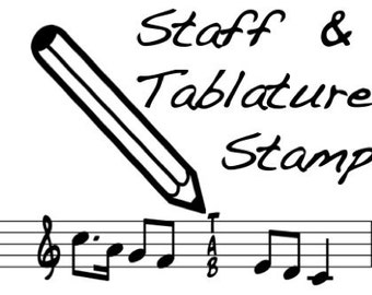 Staff and 5 string Tablature Fingering Rubber Stamp - Cool back to school item