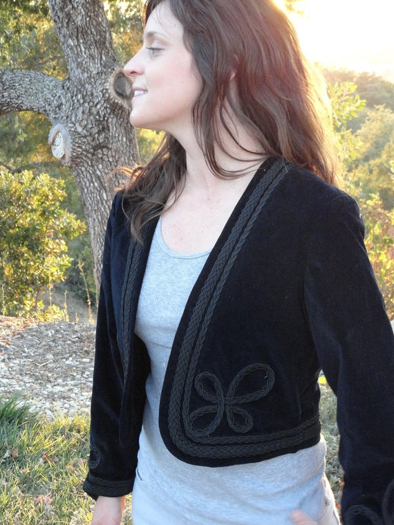 GLAM Black Velvet Bolero Jacket // Conquistador Military Style // Size 4 Small/Medium