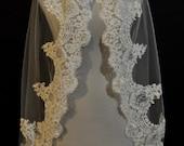 White Fingertip Lace Wedding Veil with Real Swarovski Crystals - Best Seller
