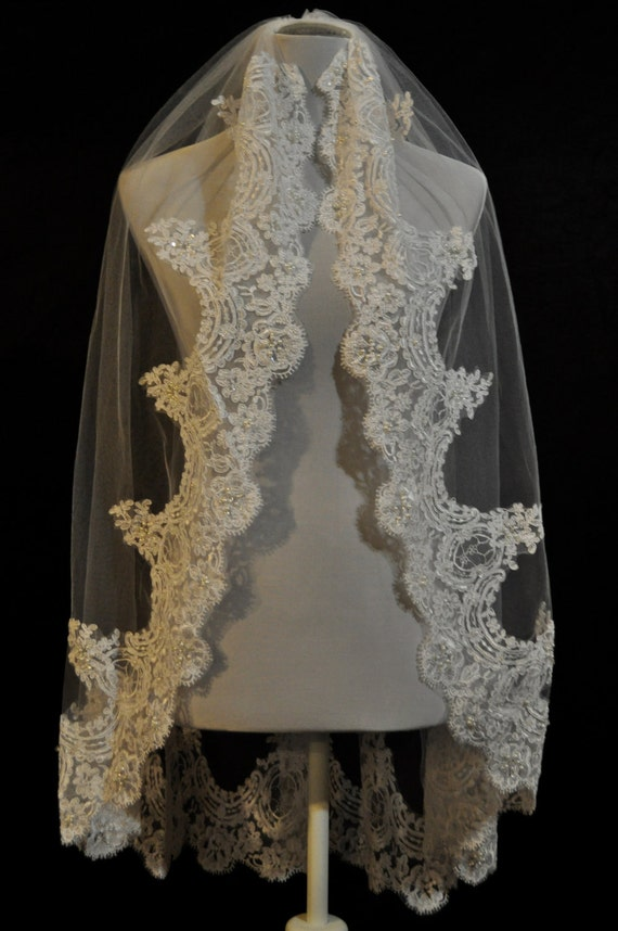 White Fingertip Lace Wedding Veil with Real Swarovski Crystals - Best Seller