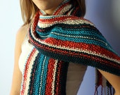 Fiesta Knit Scarf - Merino Wool Hand Knit Scarf with Braided Fringe