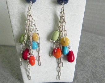 Multi Gemstone with Sterling Silver Chains Dangle Earrings (Was 40)