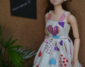 Momoko Doll Dress - Aya Summer Dress in Playful Hearts Print