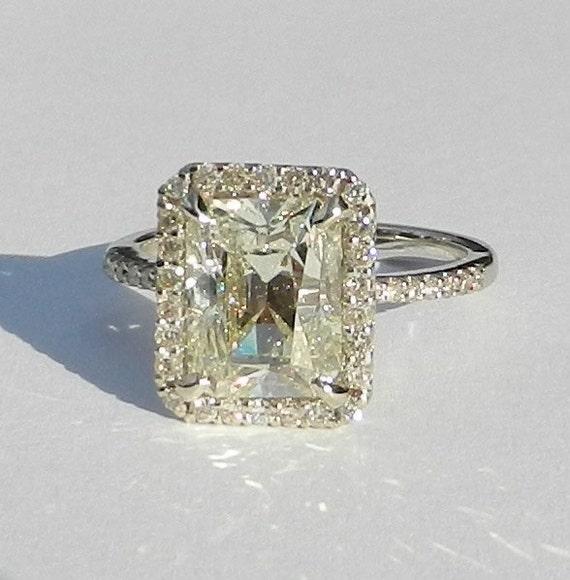 IGI Certified 3.67 Carat Diamond Engagement Ring 14kt Solid Gold W/ IGI Laser Inscription