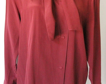 Vintage Red Tie Blouse with Shoulder Pads
