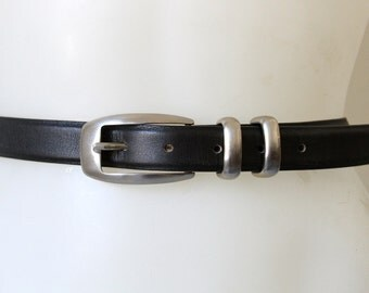 Vintage Black Genuine Leather Belt Made in Italy