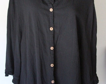 Vintage Black Button Down Blouse with Ruffle Details