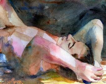 PRINT Art Nudes, Male Nude Art, artistic nude watercolor painting