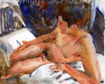 Modern Male Nude Art, fine art PRINT, artistic nude watercolor figure painting, Art Nudes, nude male