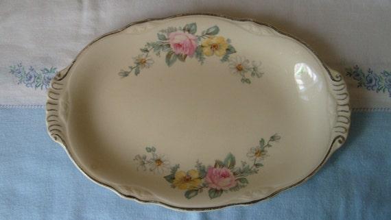 Oval Virginia Rose Pattern Platter, Homer Laughlin Dinnerware, Rose Serving Platter