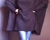 Turtle Neck Oversize Sweater Poncho Cowl Neck Poncho Wool Maternity Winter Poncho/ Loose Woman Tunic Knitted Wool Fabric Black Color