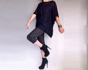 Oversized Top made from Soft Cotton with Elastane Black Color