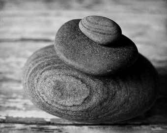 Cairn - Original Fine Art Photograph - Natural Stone, Black & White, Garden Art, Nature Photography, FREE SHIPPING