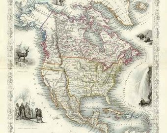 North America c1850. Antique Map of North America by Tallis - MAP PRINT