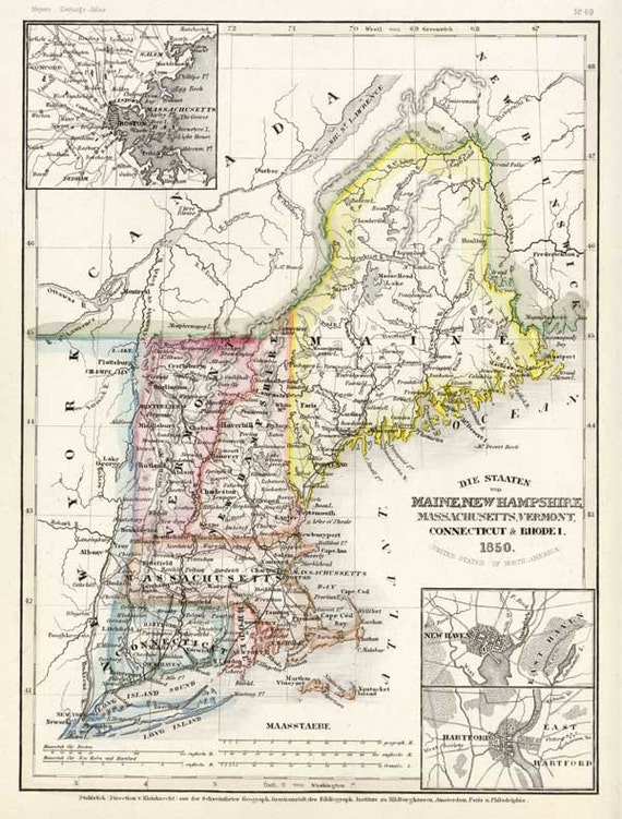 United States of North America 1852 - Antique Map by Stieler - Printable Map - Instant Digital Download