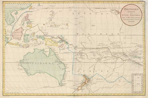 Pacific Ocean 1789 - Antique Chart of the Pacific, Australia & New Zealand. Printable Map. Instant digital download.