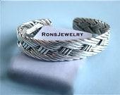 HOLIDAY SALE* Basket Weave*Sterling Silver, Cuff Bracelet