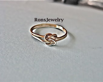 Sterling Silver and Gold Filled, Double Band, Friendship Knot Ring