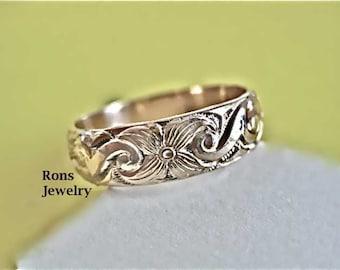 Floral Design, 14K Gold Filled, Single Band, Art Nouveau, Ring
