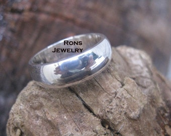 Sterling Silver, Handfiled Inside Rounded Edge, 1/4 Inch Wide, Super Comfortable Comfort Fit Ring