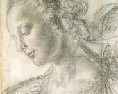 Fine Art Reproduction. Study of a Young Woman, c. 1470's. Drawing by Verrocchio. Fine Art Print.