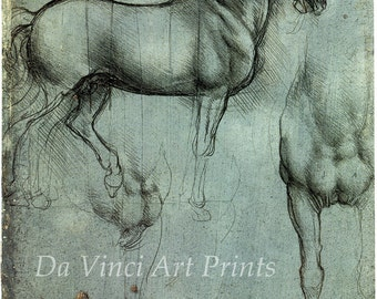 Fine Art Reproductions. Three Equestrian Studies, c.1494 -1517. Drawings by Leonardo da Vinci. 3 Fine Art Prints.