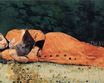 Winslow Homer Watercolor Reproductions. The New Novel, 1877. Fine Art Print.