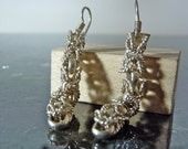SALE Vintage Silver Elegant Intertwined Beads and Ropes Earrings