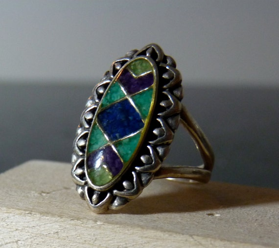SPRING SALE Vintage Silver Funky Colorful Green and Blue Gemstone Ornate Ring