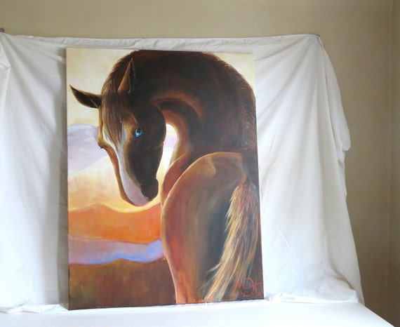 "Original Large Horse Painting, Acrylic in Canvas, 30x40, ""Sorrel"""