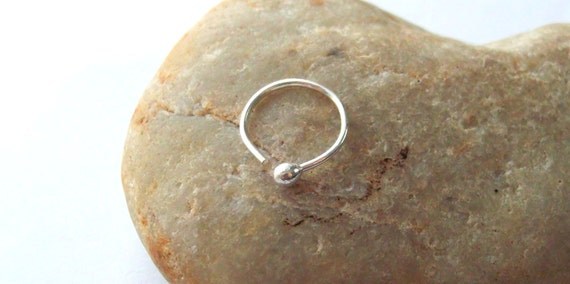 Pure Silver Cartilage Ball End Hoop Earring, 20 Gauge Fine Silver Ball End Nose Ring, Helix Piercing Hoop, Daith Hoop