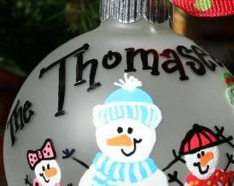 Custom Snowman Ornament, Personalized Family Ornament Gift