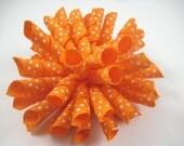 Orange Polka Dot Korker Hair Bow  -  Orange Hair Bow - Polka Dot Hair Bow - Orange Polka Dot - Korker Hair Clip - Hair Clip